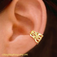 Gorgeous Princess Filigree ear cuff Gold brass earring jewelry - earcuff clip 083012