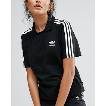 Adidas Fashion White Three Stripe Polo Neck T-Shirt