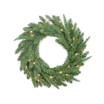 "24"" Pre-Lit PE/PVC Mixed Pine Artificial Christmas Wreath - Clear Lights"