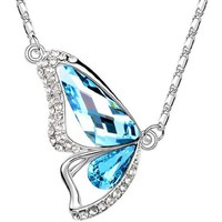 Gift for Women 18ct Gold Plated Sea Blue Swarovski Cubic Zirconia Crystal the Butterfly of Liberty Pendant Necklets Fashion Jewellery Made with 100% Genuine Swarovski Elements