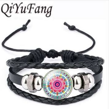 Qiyufang Classic Mandala Flower OM Symbol Buddhism Zen Glass Cabochon Stud bracelet bangle Vintage Silver Color Jewelry Women