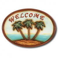 "RAM Gameroom ""Welcome"" Palm Trees Outdoor Sign - ODR807"