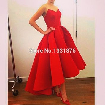 Vestido De Festa 2016 High Low Red Satin Long Prom Dresses Sweetheart Formal Wedding Guest Dresses Sexy Women Evening Gowns