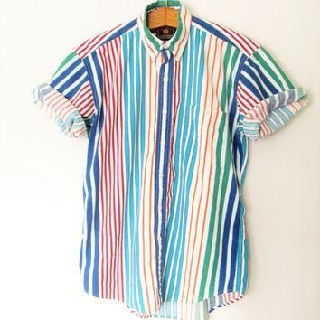 Vintage 1990s Colorful Stripe Chaps Ralph Lauren Short Sleeve Button Down Shirt