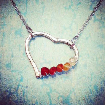 Silver Heart with Ombre Hessonite Garnets