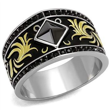 WildKlass Stainless Steel Ring Two-Tone IP Gold (Ion Plating) Men Synthetic Jet
