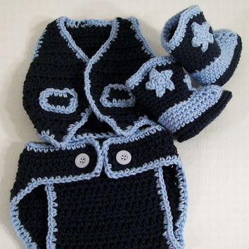 Western Hat /Boots and Diaper Cover-Vest -Dark Denim and Soft Blue--Baby Shower Gift--#334