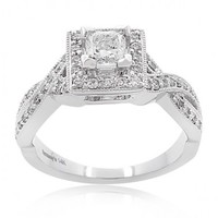 3/4ct tw Princess Cut Diamond Engagement Ring with Round Diamonds in 14K White Gold - Side-Stones - Engagement Rings
