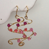 Ombré pink crystal wire wrapped earrings with gold tone wire