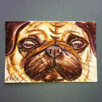 Little Pug puppy Face Original Watercolor. Ideal Mothers day gift. 10 x15cm ideal Gift for a Mother