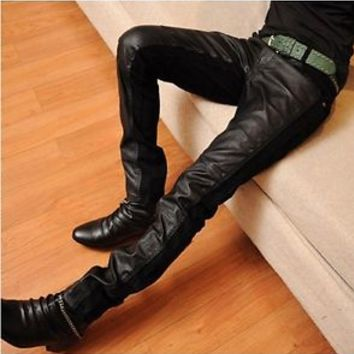 Hot Korean Mens Skinny Black Cool Pants Faux Leather Trousers Fashion Jeans