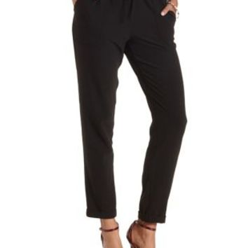 Black Cuffed Drawstring Jogger Pants by Charlotte Russe