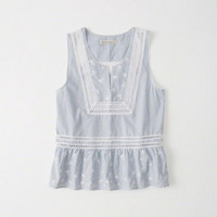 Womens Embroidered Shell Tank | Womens New Arrivals | Abercrombie.com