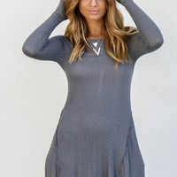 Foggy Memories Charcoal Long Sleeve Dress