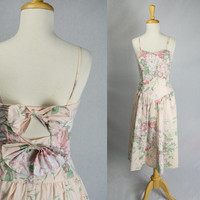 Vintage 80s Sweetheart Rose Tea Length Dress Pretty Bow Back