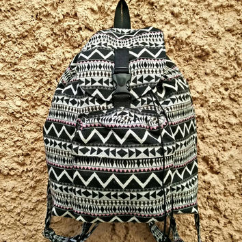 Backpack Aztec Boho Tribal fabric festival Bags Travel bag Laptop Hippies Ethnic Hobo Styles Hipster Pattern Beach School Messenger in black