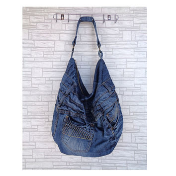 Large hobo bag slouchy tote handbag purse shopper weekend recycled upcycled denim