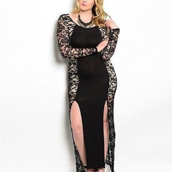 Plus Size Plus Size Sexy Black Lace Panel Maxi Dress Size 1X