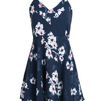 Blue V-neck Plum Floral Print Cross Detail Open Back Dress