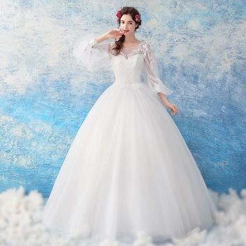 White Wedding Dress O-neck Puff Full Sleeves Bride Ball Gowns Embroidery Beading