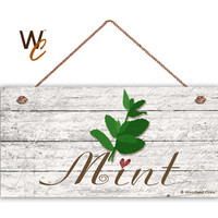 "Mint Sign, Garden Sign, Rustic Decor, Herb on Distressed Wood, Weatherproof, 5"" x 10"" Sign, House Gift, Gift For Gardener, Made To Order"