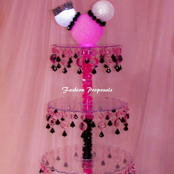 Minnie MouseCupcake Tower 4 tiers. Cupcake stand. Crystal cupcake stand. Wedding cupcake stand. Crystal cake stand. Cake stand tower
