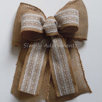 Rustic Lace Burlap Wedding Bow Southern Wedding Decoration Vintage Burlap Lace Bow