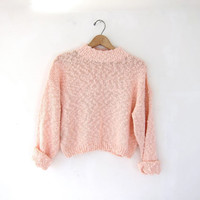 vintage blush pink sweater. cropped sweater. spring knit sweater.