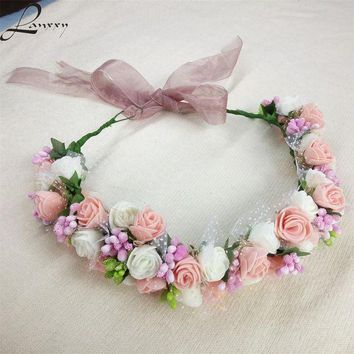 DCCKLW8 Lanxxy New Women Wedding Bridal Hair Bands Flowers Hair Accessories Floral Crown Girls Summer Headwear Fashion Headband