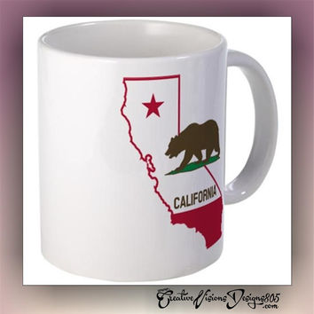 California - state coffee mug - custom coffee mug - coffee lover gift -