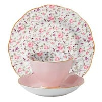 Royal Albert 3-Piece New Country Roses Teacup, Saucer and Plate Set, Rose Confetti