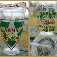 My Superhero Wears Combat Boots Army tumbler - 16oz Personalized Acrylic - Navy, Air Force, Marines