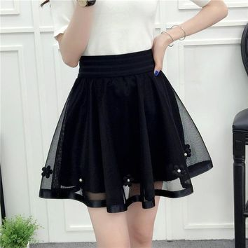 Women Embroidery Beading Skirt Sexy Saia Short Skater Mini Skirts Ladies Black Pleated Tutu Skirt Faldas Jupe Ball Gown Skirt