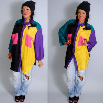 Vintage 1990s Oversize Oversized  Color blocked BRIGHT Silk button down long sleeve floral purple yellow blouse tunic top