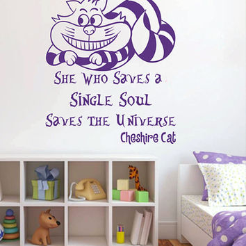 kik2582 Wall Decal Sticker Alice in Wonderland Cheshire Cat quote bedroom children's room