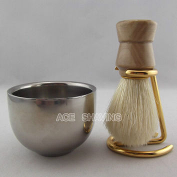 Wood Handle Boar Bristle with Stand Holder and Bowl  -  Shaving Brush Set