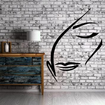 Beautiful Sexy Woman Face Outline Decor Wall Art Mural Vinyl Decal Sticker Unique Gift M465