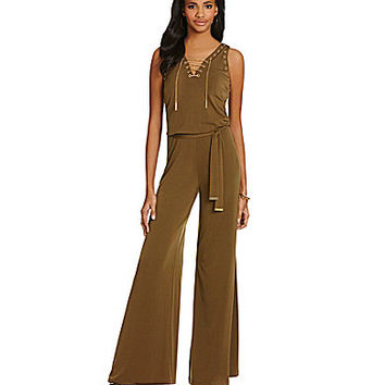 MICHAEL Michael Kors Grommet Trimmed Chain Lace-Up Wide-Leg Jumpsuit