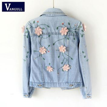 Vangll Women Slim Embroidered Three-dimensional Flowers Long Sleeve Denim Jacket 2018 Brand Spring Autumn Women's Jeans Coat