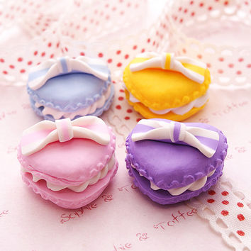 Sweets Deco Decoden Kawaii Polymer Clay Charm Lolita Heart Shaped Macaroon Assorted Set (4pcs) CAS407
