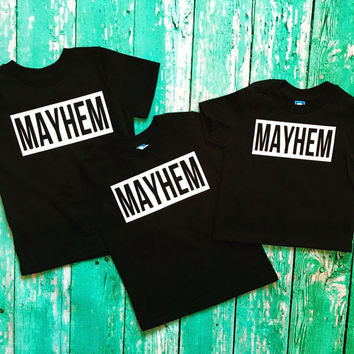 Mom of Mayhem mommy and me mom and daughter son shirts MATCHING SET Racer Back Tank Top Gift Work Out Yoga Parenthood toddler Custom