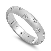 Cubic Zirconia Polkadot Ring Sterling Silver Size 7