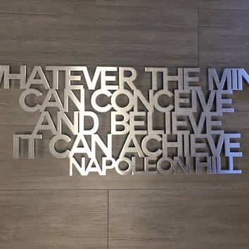 Napoleon Hill Metal Wall Art Quote - Think and Grow Rich - Wall Quote - Wall Art - Home Decor - Metal Art