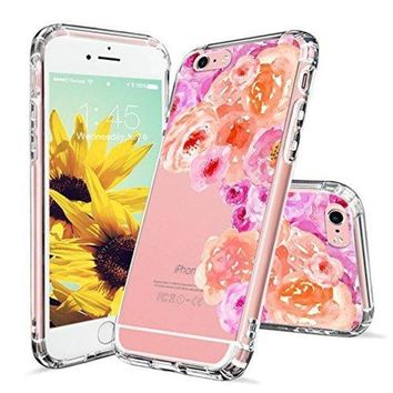 CREYV2S iPhone 6s Case, Clear iPhone 6 Case, MOSNOVO Watercolor Roses Floral Printed Flower Clear Design Transparent Plastic Hard Back Case with TPU Bumper Protective Case Cover for iPhone 6 6s (4.7 Inch)