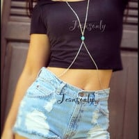 High waist destroyed denim shorts,Body chain,jeans shorts and body chain by Jeansonly