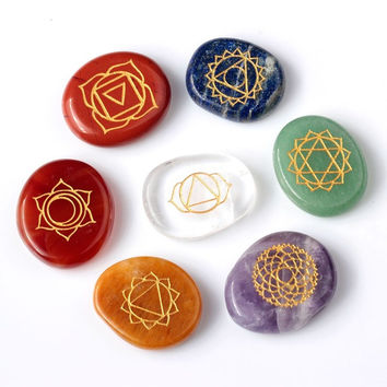 7 piece Engraved chakra stone palm stone crystal reiki healing with one pouch = 1958056452