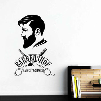 kik3251 Wall Decal Sticker Man's face hairstyle head hairdresser's for men barbershop