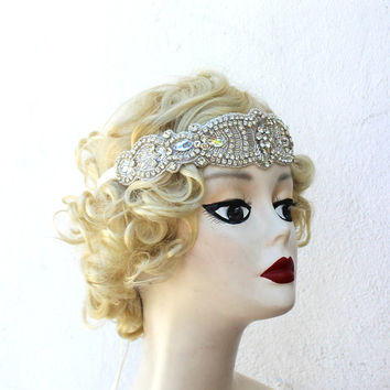 Crystal Flapper Headband, Great Gatsby Head Piece, Hair Accessory, Bridal, Retro, Ivory, Champagne, White, Costume, Prom