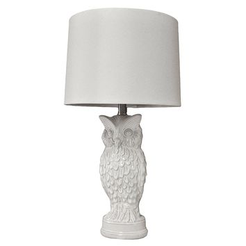 Owl Ceramic Glaze Table Lamp with Vintage Inspired White Shade for Living Room, Buffet, Bedroom Bedside, Night Stand Lights, Study and Office - owl from the fairyland (Big Size) (White)