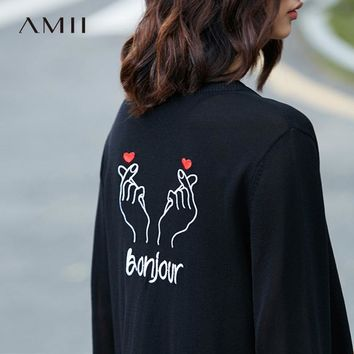 Amii Casual Women Cardigan 2017 Back Embroidery Button Long Female Knit Cardigan Sweaters